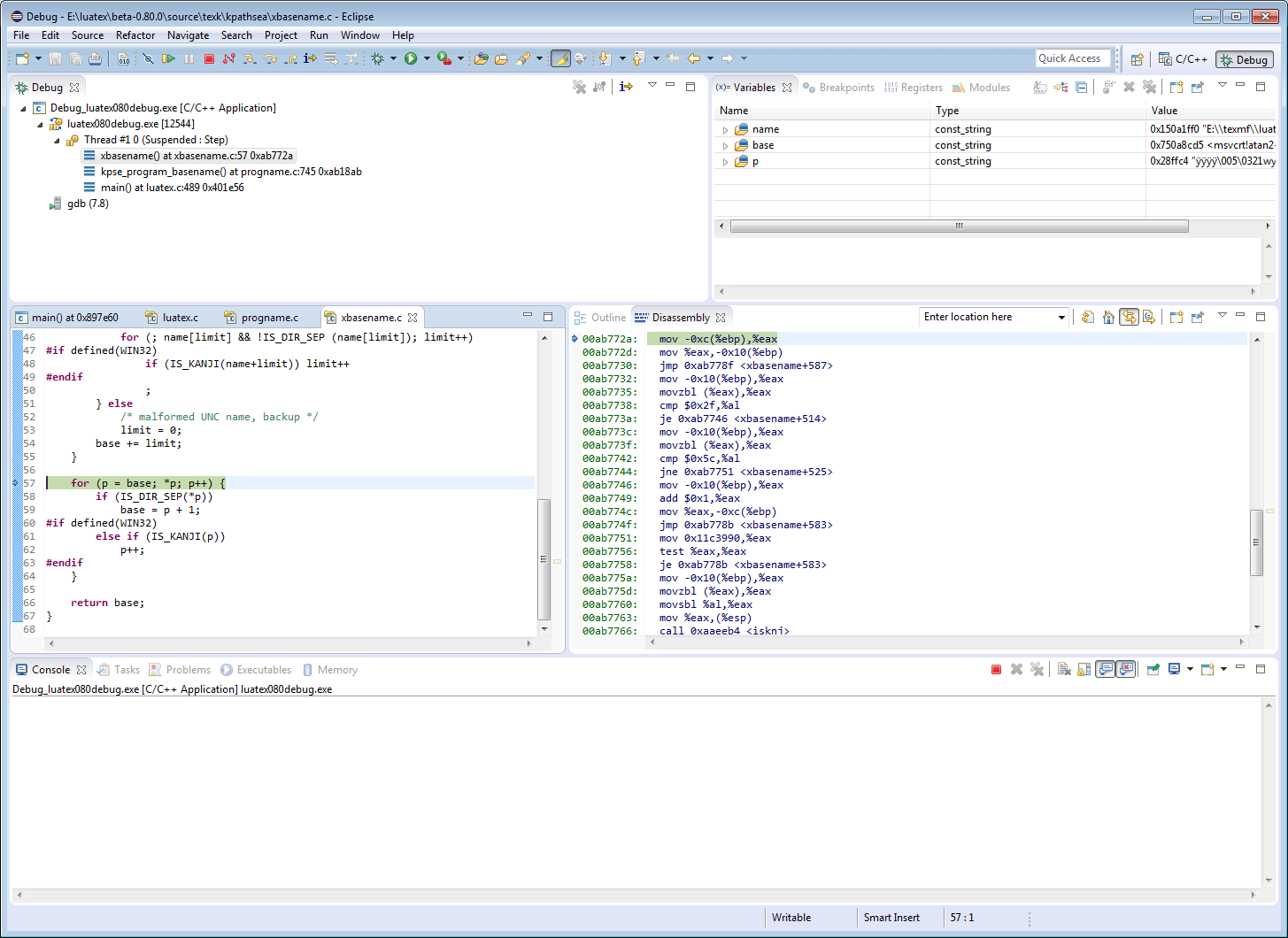 The Eclipse IDE debugging LuaTeX using GNU gdb debugger